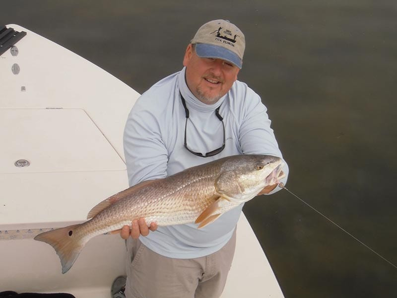 Clearwater fishing guide client with caught redfish on charter trip.