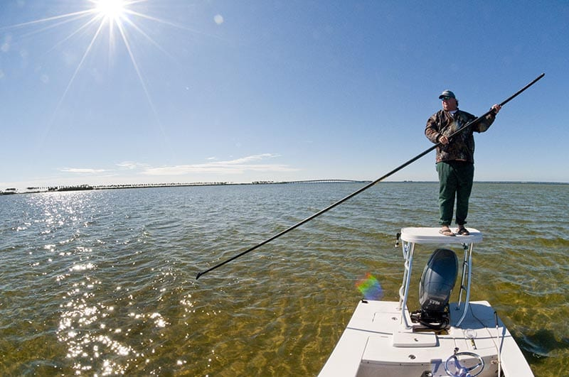 Tarpon Springs fishing guide on poling platform