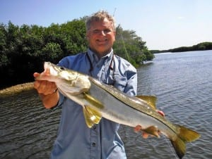 Tampa Fishing charter client holding back country snook during SW Florida fishing charter.